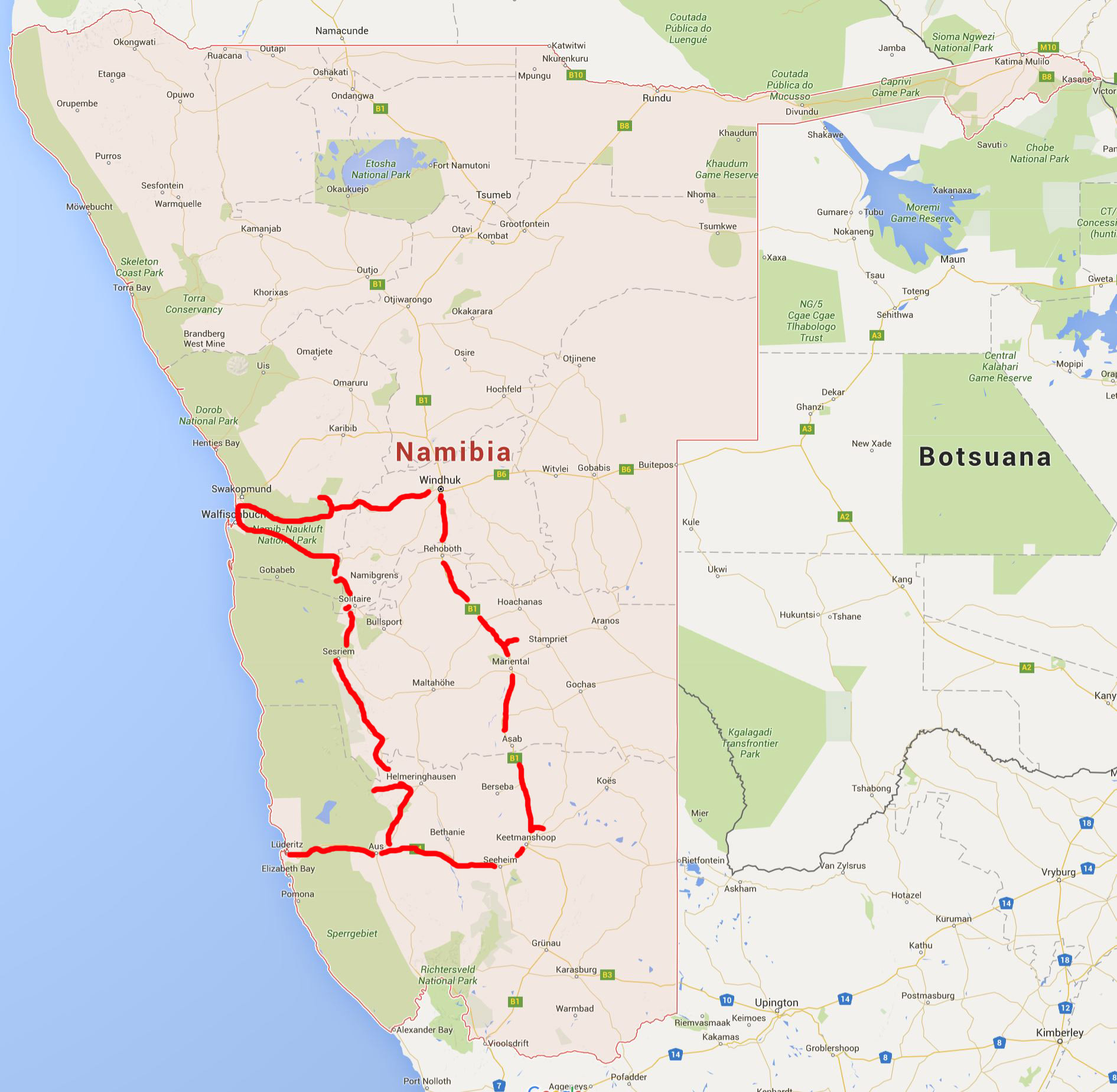 Landkarte-Namibia