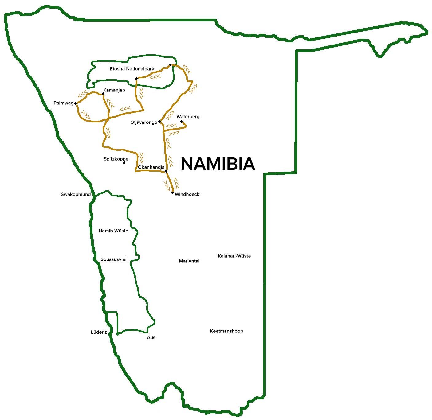 Reiseroute-Fotoreise-Namibia-Fotosafari-Afrika-Norden-